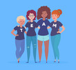 Vector Illustration of a Diverse Group of Women with team lettering on their t-shirts.