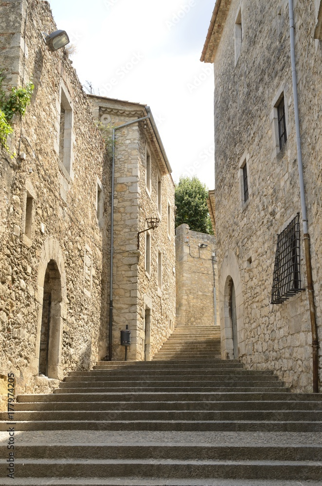 Stairs in cobblestone alley  in Girona, Spain