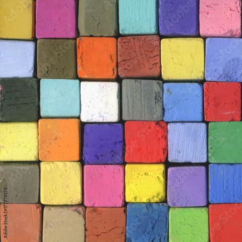 Fototapety, obrazy: Farben Quadrate aus Pastell Kreiden