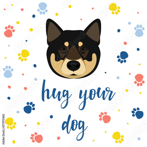 new year of the dog card template cute shiba inu dog portrait and dog paw