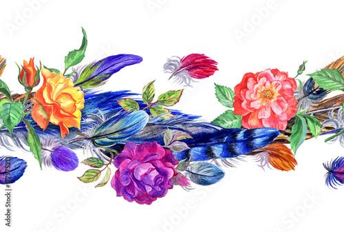 Fototapeta Bezszwowe granica akwarela róż i piór.