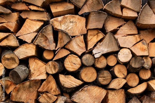 Foto op Aluminium Brandhout textuur A heap of wood for heating. Ecological heating of the house. Preparing for the winter.
