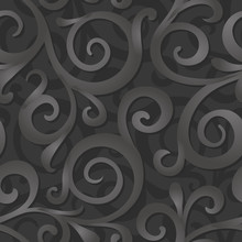 Gray Swirl 3d Seamless Pattern