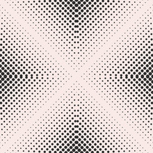 Vector Seamless Pattern, Visual Halftone Gradually Transition Effect. Monochrome Texture With Small Circles In Pyramid Form, Square Abstract Background. Design Element For Prints, Decor, Digital, Web