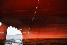 Prow Of An Old Red Freighter A...