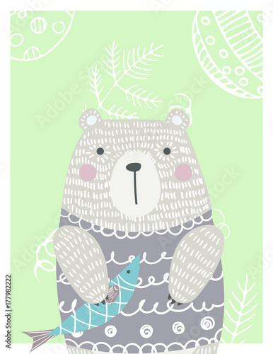 Hand drawn funny, cute bear with fish in Scandinavian style. Childish print for poster, postcard, stickers, cover. Vector Illustration