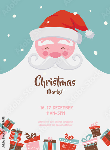 Fotografie, Tablou christmas market poster with santa and presents