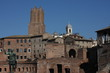 Cityscape of Rome, Italy with statue of roman emperor.