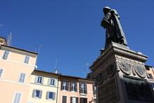 Giiordano Bruno Statue Campo De' Fiori Rome Italy. Bruno Was Heretic Burned At Stake In Campo De' Fiori. Statue By Ferrari In 1889