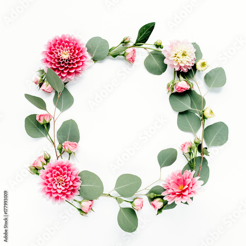 Fotobehang Bloemen Floral round frame wreath made of pink and beige peonies flower buds, branches and leaves isolated on white background. Flat lay, top view. Frame of flowers. Floral background. Valentine's