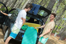 Young Men Parked In Forest Get...