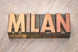 Milan word abstract in wood type
