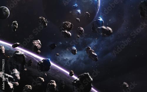 Plakat Meteoryty. Obraz głębokiej przestrzeni, fantasy science-fiction w wysokiej rozdzielczości, idealny do tapet i druku. Elementy tego obrazu dostarczone przez NASA