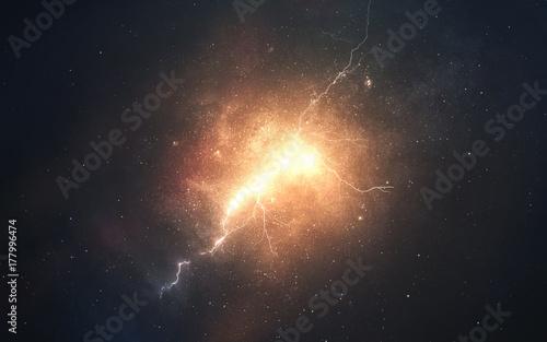 Fototapeta Streszczenie tło kosmiczne ze spalania plam w osoczu. Obraz głębokiej przestrzeni, fantasy science-fiction w wysokiej rozdzielczości, idealny do tapet i druku. Elementy tego obrazu dostarczone przez NASA