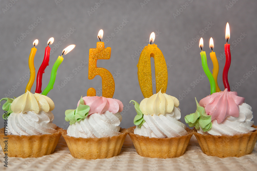 Birthday Anniversary 50 Years With Cakes And Golden Candles Foto Poster Wandbilder Bei EuroPosters