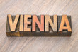 Vienna word abstract in wood type