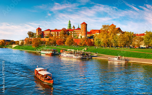Wawel castle famous landmark in Krakow Poland. Picturesque Wallpaper Mural