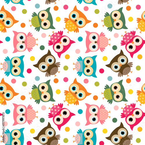 Cotton fabric Cute colorful bird seamless pattern with owls and dots for kids stationery designs and clothing