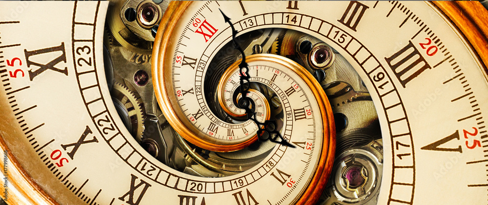 Fototapety, obrazy: Antique old clock abstract fractal spiral. Watch classic clock mechanism unusual abstract texture fractal pattern background. Old fashion clock roman arabic numerals clock hands Abstract effect spiral