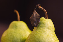 Closeup Of Two Green Pears