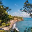 View of the coastline of the Costa Dorada in Miami Platja, Tarragona, Catalunya, Spain. Copy space for text.
