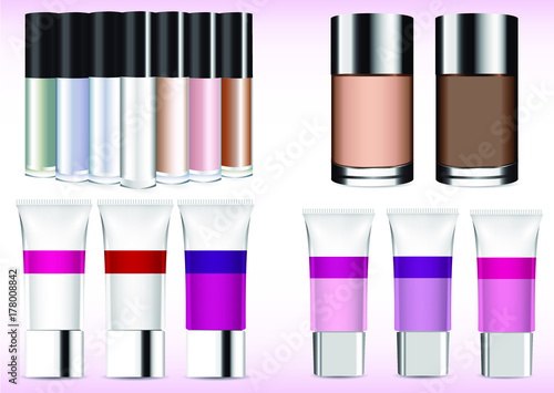 Vector set of creams and professional makeup cosmetics Wallpaper Mural