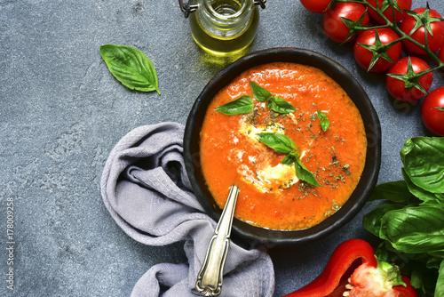 Cold tomato soup (gazpacho or salmorejo).Top view.