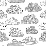 Beautiful black and white seamless pattern of doodle clouds. design background greeting cards and invitations to the wedding, birthday, mother s day and other seasonal autumn holidays. - 178014432