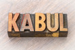 Kabul word abstract in wood type
