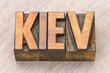 Kiev word abstract in wood type