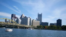 Timelapse Of Pittsburgh As Seen From North Shore On Sunny Autumn Day