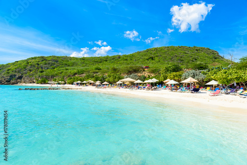 Photo Stands Turquoise Porto Marie beach - white sand Beach with blue sky and crystal clear blue water in Curacao, Netherlands Antilles, a Caribbean Island