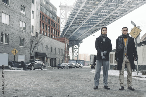 Friends Hanging Out in Dumbo Brooklyn on a Winter Afternoon Poster