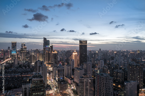 фотография  Shanghai skyscrapers Illuminated at Dusk