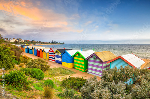 Poster Australie Colorful Beach House at Brighton Beach, Melbourne