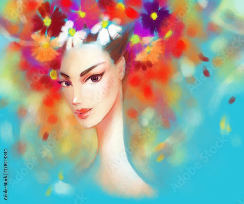beautiful-woman-and-flowers-fashion-illustration