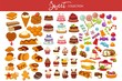 Sweet collection of tasty decorated desserts and candies