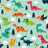 Fototapeta Dinusie - Adorable seamless pattern with funny dinosaurs in cartoon. Seamless pattern can be used for wallpapers, pattern fills, web page backgrounds,surface textures