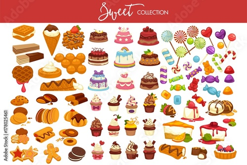 Fotografie, Obraz  Sweet collection of tasty decorated desserts and candies