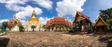 Panoramic Landscape - Golden Pagoda At Wat Phra Buddhabart Tak Pha , Lamphun Province Thailand