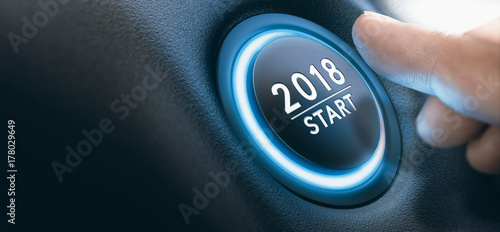 Poster Macarons 2018 Car Start Button, Two Thousand Eighteen Background.