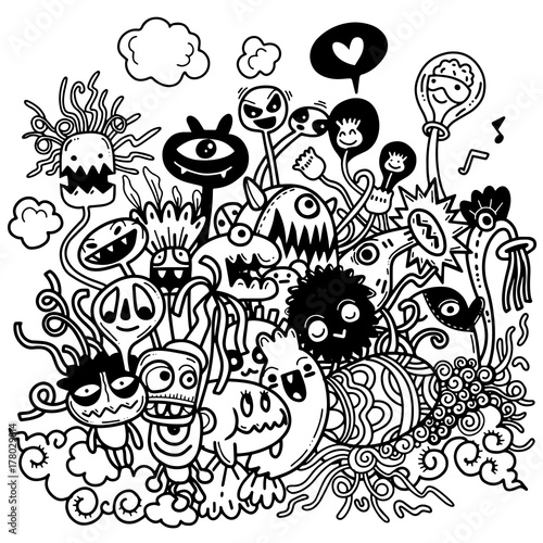 Photo  Vector illustration of Cute hand-drawn Halloween doodles