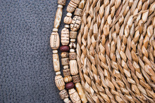 Tribal African Beads From Polymer Clay Fashion Background. Handmade Jewelry.