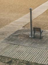 Chair Under A Beach Shower. Barcelona, Spain.