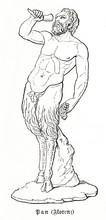 Pan - Ancient Greek God Of The Wild, Shepherds And Flocks, Nature Of Mountain Wilds And Rustic Music (from Meyers Lexikon, 1896, 13/454)