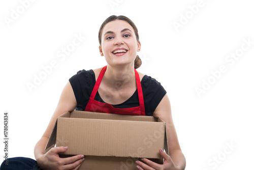 Plakat Żeński merchandiser patrzeje satysfakcjonujący jej dostawa