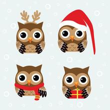 Christmas Set With Owls