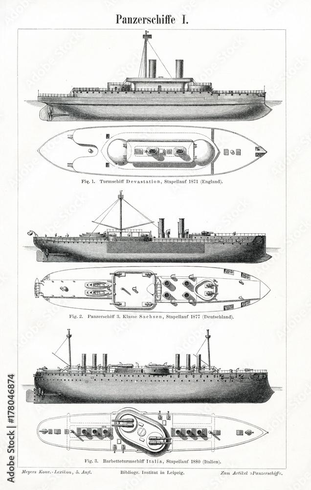 Fotografía Battleship I (from Meyers Lexikon, 1896, 13/472/473 ...