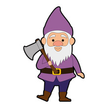 Cute Gnome With Woodcutter Ax Character