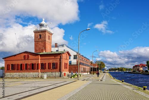 Montage in der Fensternische Leuchtturm Leuchtturm Tag Darlowko Gebäude Ostsee